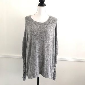 Caslon XL Marled Gray Ruched Sleeve Sweater
